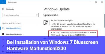Bei Installation von Windows 7: Bluescreen: Hardware Malfunction…
