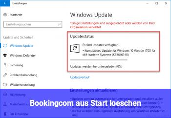 Booking.com aus Start löschen