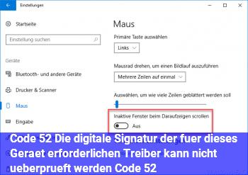 """Code 52 """"Die digitale Signatur der für dieses Gerät erforderlichen Treiber kann nicht überprüft werden. (Code 52)"""""""