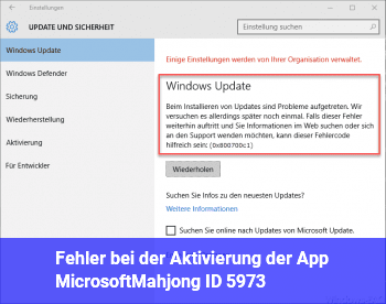 Fehler bei der Aktivierung der App MicrosoftMahjong (ID 5973)