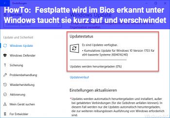 HowTo Festplatte wird im Bios erkannt, unter Windows taucht sie kurz auf und verschwindet