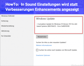 HowTo In Sound Einstellungen wird statt Verbesserungen Enhancements angezeigt