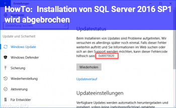 HowTo Installation von SQL Server 2016 SP1 wird abgebrochen,