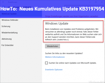 HowTo Neues Kumulatives Update KB3197954