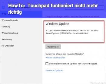 HowTo Touchpad funtioniert nicht mehr richtig
