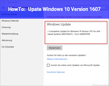 HowTo Upate Windows 10 – Version 1607