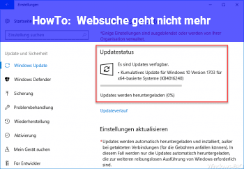 HowTo Websuche geht nicht mehr
