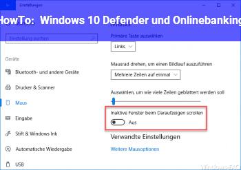 HowTo Windows 10, Defender und Onlinebanking