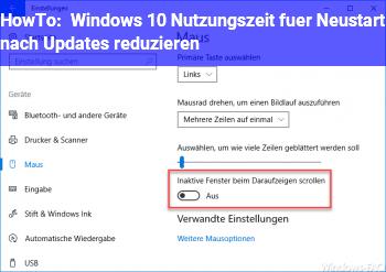 HowTo Windows 10 Nutzungszeit für Neustart nach Updates reduzieren