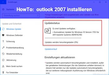 HowTo outlook 2007 installieren