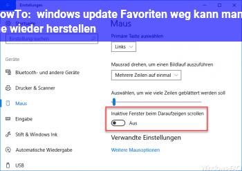 HowTo windows update Favoriten weg kann mann sie wieder herstellen