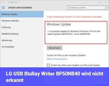 LG USB BluRay Writer BP50NB40 wird nicht erkannt.