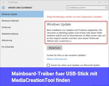 Mainboard-Treiber für USB-Stick mit MediaCreationTool finden