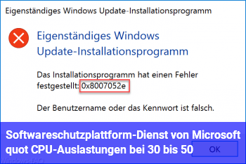 """Softwareschutzplattform-Dienst von Microsoft"""" CPU-Auslastungen bei 30 bis 50 %"""