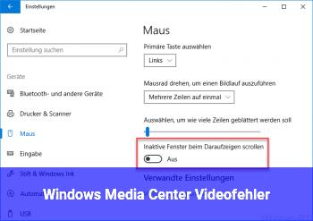 Windows Media Center Videofehler
