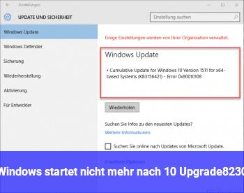 Windows startet nicht (mehr) nach 10 Upgrade…