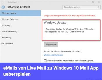 eMails von Live Mail zu Windows 10 Mail App überspielen