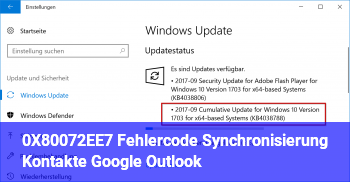 0X80072EE7 Fehlercode, Synchronisierung Kontakte Google Outlook