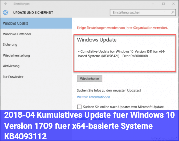 2018-04 Kumulatives Update für Windows 10 Version 1709 für x64-basierte Systeme (KB4093112)