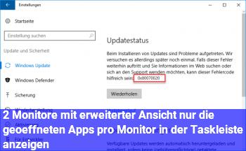 2 Monitore mit erweiterter Ansicht: nur die geöffneten Apps pro Monitor in der Taskleiste anzeigen?