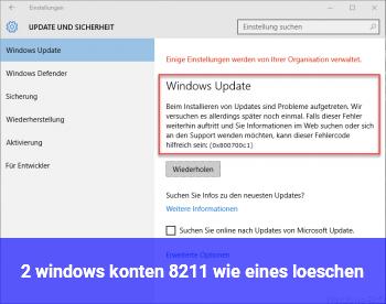 2 windows konten – wie eines löschen