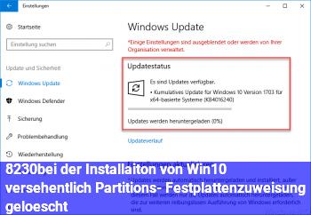 …bei der Installaiton von Win10 versehentlich Partitions- Festplattenzuweisung gelöscht