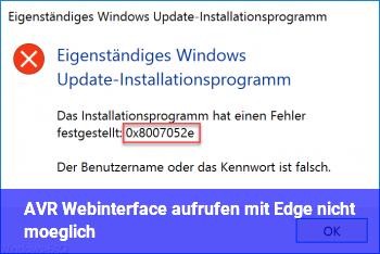 AVR Webinterface aufrufen mit Edge nicht möglich