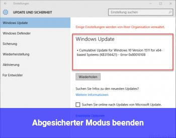 Windows 10 Abgesicherter Modus Beenden