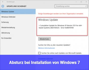 Absturz bei Installation von Windows 7