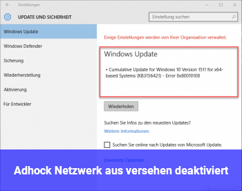 Adhock Netzwerk aus versehen deaktiviert