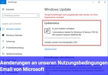 Änderungen an unseren Nutzungsbedingungen Email von Microsoft