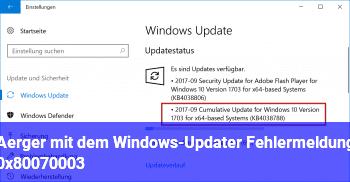 Ärger mit dem Windows-Updater, Fehlermeldung 0x80070003