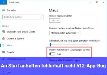 """An """"Start"""" anheften fehlerhaft (nicht 512-App-Bug)"""