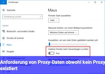 Anforderung von Proxy-Daten, obwohl kein Proxy existiert