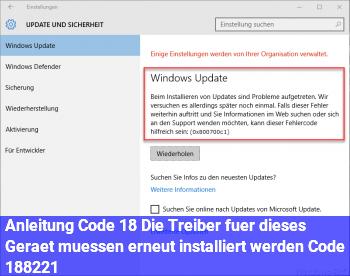 """Anleitung Code 18 """"Die Treiber für dieses Gerät müssen erneut installiert werden. (Code 18)"""""""