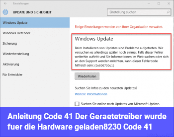 """Anleitung Code 41 """"Der Gerätetreiber wurde für die Hardware geladen… (Code 41)"""""""