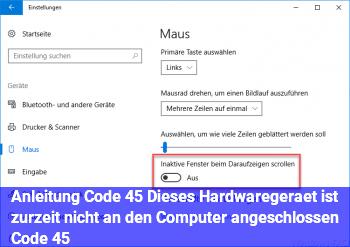 "Anleitung Code 45 ""Dieses Hardwaregerät ist zurzeit nicht an den Computer angeschlossen. (Code 45)"""