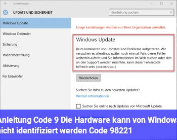 """Anleitung Code 9 """"Die Hardware kann von Windows nicht identifiziert werden… (Code 9)"""""""