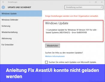 Anleitung Fix: AvastUI konnte nicht geladen werden