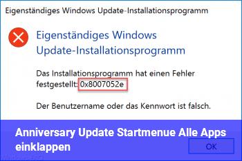 Anniversary Update, Startmenü, Alle Apps einklappen