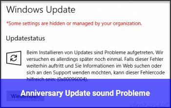 Anniversary Update sound Probleme