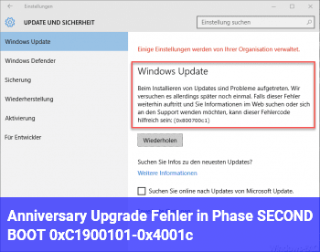 Anniversary Upgrade : Fehler in Phase SECOND_BOOT 0xC1900101-0x4001c