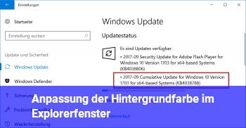 Anpassung der Hintergrundfarbe im Explorerfenster