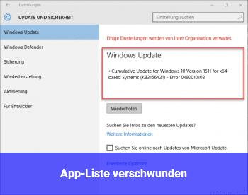 App-Liste verschwunden