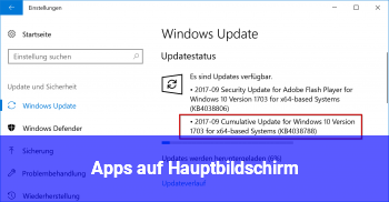 "Apps auf ""Hauptbildschirm"""