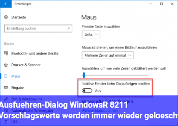 Ausführen-Dialog (Windows+R) – Vorschlagswerte werden immer wieder gelöscht