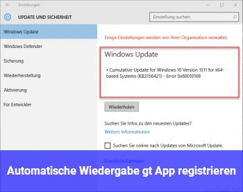 Automatische Wiedergabe > App registrieren