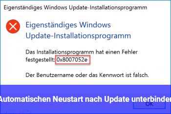 Automatischen Neustart nach Update unterbinden
