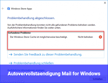 Autovervollständigung Mail for Windows
