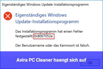 Avira PC Cleaner hängt sich auf